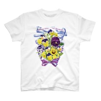 花束を君に ボタニカルアート 花柄 Tシャツ T-shirts