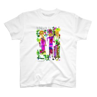 オシャレな3人 / risa ikeda★画面上蛍光色に表示される部分について★実際は落ち着いた色合いになります T-shirts