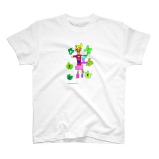花と女の子 / risa ikeda★画面上蛍光色に表示される部分について★実際は落ち着いた色合いになります T-shirts