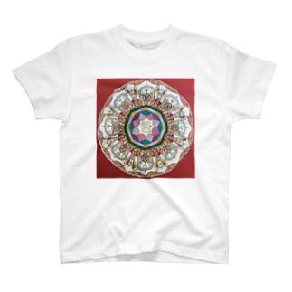 イエロー パンダ スマイル 蓮 T-shirts