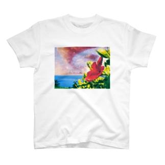 空×海×ハイビスカス T-shirts