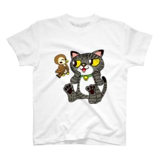 キジトラ猫とスズメさんニャン♪ T-shirts