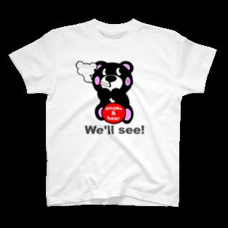 オリジナルデザインTシャツ SMOKIN'の一服モクモックマ  黒 T-shirts