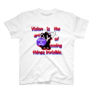 オリジナルデザインTシャツ SMOKIN'のくるりんモクモックマC黒 T-shirts