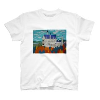 Junie貼り絵グッズの紅葉のノイシュバンシュタイン城 T-shirts