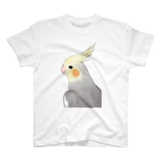 見つめるオカメインコちゃん【まめるりはことり】 T-shirts