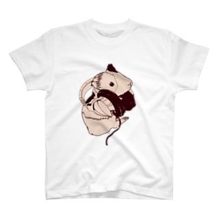 ヘッドフォンモルモットセピア T-shirts