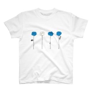 青いバラ T-shirts