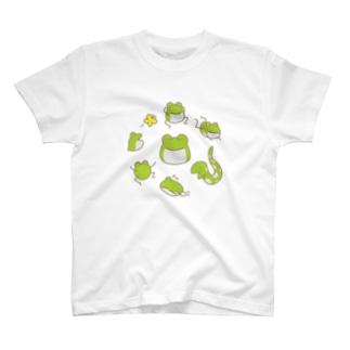 【けこがえる】ぐるぐる T-shirts