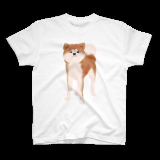 『レモンのれ』SUZURI店の秋田犬【赤毛】 T-shirts