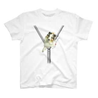 ジップデザイン Peace+クラウン T-shirts