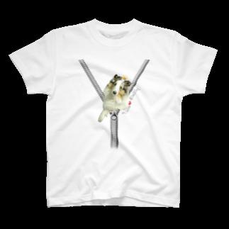 Airy Blueのジップデザイン Peace+クラウン T-shirts