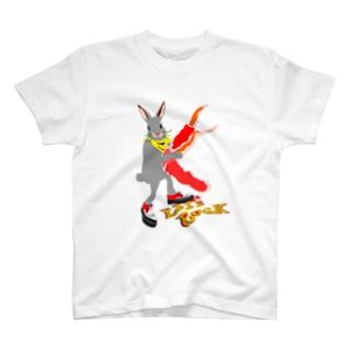 ウサギター カニ爪 T-shirts