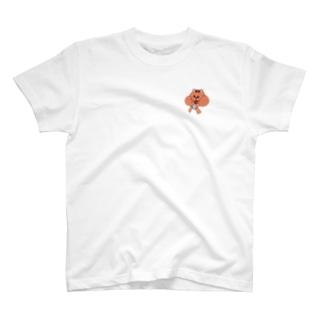 ピンク茶色 ほっぺパツパツリス  T-shirts