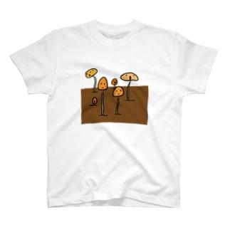 プランターに生えた謎のきのこ T-shirts