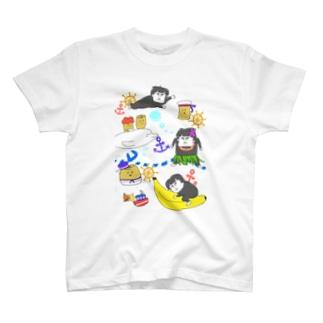 マリンでゴリ(水色) T-shirts