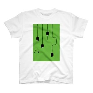 plug in !(グリーン) T-shirts
