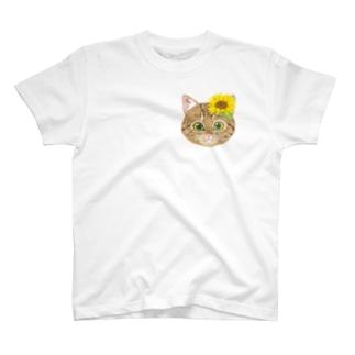 ねこちゃん(キジトラひまわり)ワンポイント T-Shirt