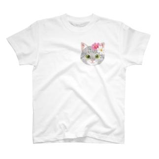 ねこちゃん(コスモス)ワンポイント T-Shirt