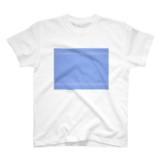 水玉 × ブルー T-shirts
