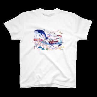イラストレーター おおでゆかこのボトルシップの夢 T-shirts