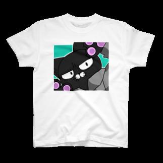 Kuloの下睫毛のねこがじっとみてる服 T-shirts