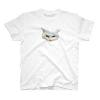 睨んでくるしろねこ T-shirts