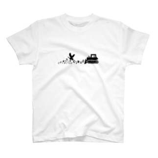【Tシャツ】カラスとエクステのハーフ&ブルドーザーのハンドル  T-Shirt