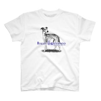 線画 イタリアングレイハウンド 前面プリントTシャツ<淡色> T-Shirt