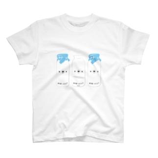 しろくま牛乳三本セット T-shirts