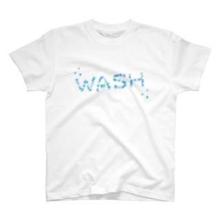 ウォータースプラッシュ風デザインWASHで暑い夏を涼し気に!【検索キーワード】夏,水,涼,しぶき,爽やか,スプラッシュ,ウォーター,wash,洗う,ウォッシュ T-shirts