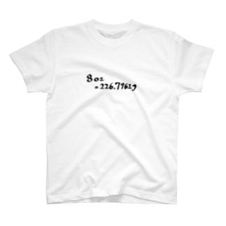 8oz= 226.7962g T-shirts