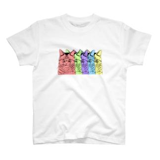 目つきの悪い猫カラフル T-Shirt