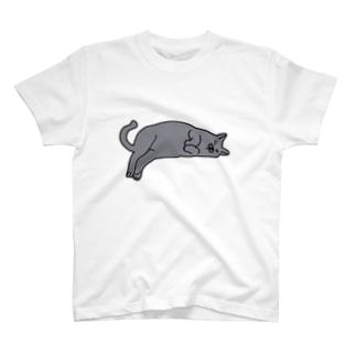 寝そべる5.2キロのロシアンブルー T-Shirt