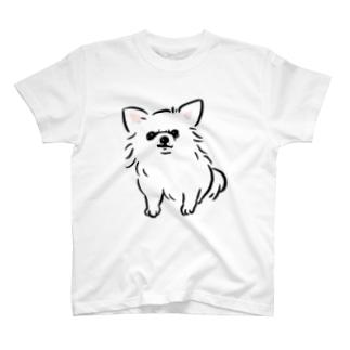 チワワ 警戒中 白【せいこせんせい】 T-shirts