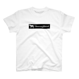 文字ネタ 515 サラブレッドステッカー 黒 T-shirts