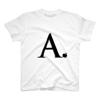 イニシャルA りんご T-shirts