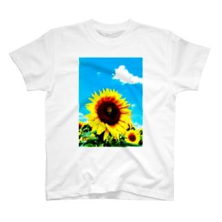 向日葵と青空 T-shirts