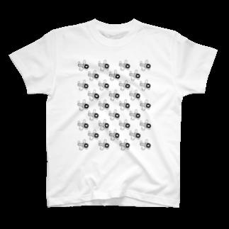 けん玉愛好会(ラブけん)ショップのラブけんロゴ総柄(黒) T-shirts