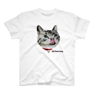 ねこ-1 ペロリ!美味しそう 手描きイラスト T-shirts