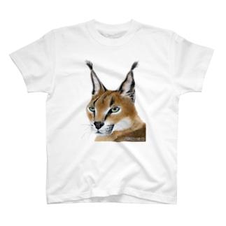 ねこー3 カラカル手描きイラスト T-shirts