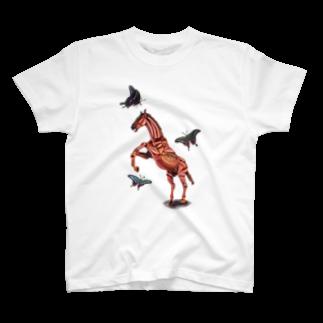 波田野剛望(はたのたけみ)の馬と蝶 T-shirts