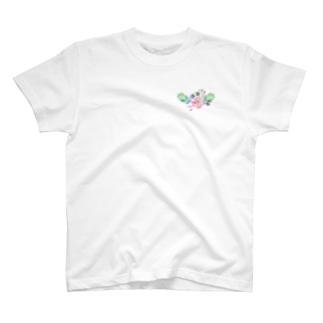 水彩気分の花柄 T-shirts