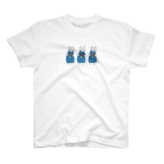 巻きしいたけ柄マキシ丈ワンピを着た猫が3匹 T-shirts