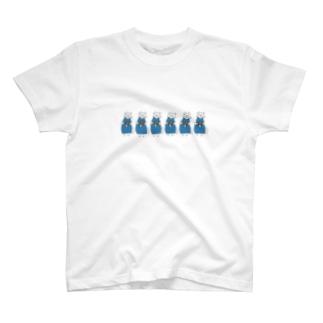 巻きしいたけ柄マキシ丈ワンピを着た猫がいっぱい T-shirts
