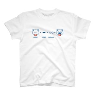 ネコ+ヒゲ+メガネ Tシャツ