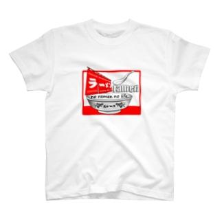 ラーメンTシャツ(魂の一杯:赤) T-shirts