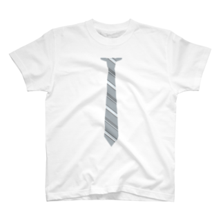 a-noのネクタイ風 グレーストライプ T-shirts