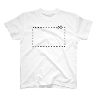 切り抜き線(黒) T-shirts