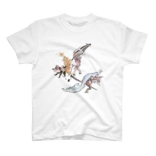 百鬼夜行絵巻 草履・破れ傘の付喪神と青い布をかぶった妖怪【絵巻物・妖怪・かわいい】 T-shirts